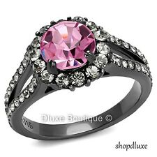 3.15 CT HALO ROUND CUT CZ BLACK STAINLESS STEEL ENGAGEMENT RING WOMEN'S SZ 5-10