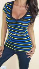 SEXY BLUE GREEN PREPPY STRIPES V NECK LOW CUT CLEAVAGE STRETCH BASIC TEE TOP BT3