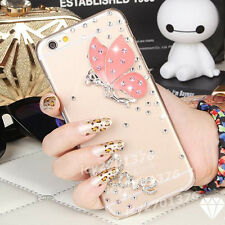 Bling Diamonds Love Pink Butterfly Clear Hard Back Case Skin Cover For Samsung