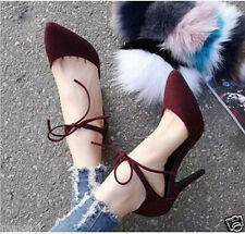 Sexy Womens New High Heels Stiletto Pumps Party Ankle Strap Suede Work Shoes Sz