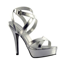 "Silver Strappy 4.5"" Heel Formal Prom Platform Sandal Women's Shoes"