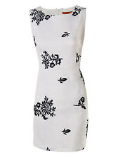 New Ladies Floral Embroidery Shift Summer Dress Cream Size S M L
