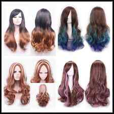 """70cm 27"""" wave curly Brown Gradient mix color long hair Fashion Party Cosplay Wig"""