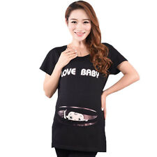 Funny Maternity Top Tees Love baby Printed Maternity T-Shirt for Pregnant Women