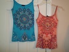 FANG JUNIOR'S SIZE SMALL TANK TOP SPAGHETTI STRAPS RIBBED KNIT 100% COTTON SHIRT