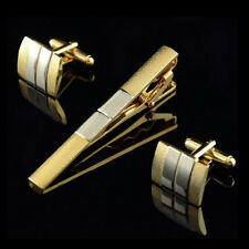 Modish Goodly Men Silver Gold Plated Cufflinks Tie Bar Clasp Clip Set Gift FMCA
