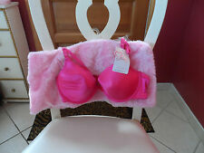 Ladies Valentine's Day hot pink plunge bra and light pink faux fur mini skirt