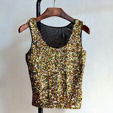 Women Sequined Bling Shinny Tank Top Casual Loose Shirt Sleeveless Blouse Vest