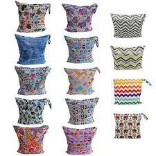 Hot Reusable Baby Infant Cloth Diaper Nappy Wet& Dry Storage Bag Zipper Tote