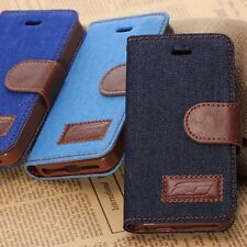 Jeans Flip Leather KickStand Slim Magnet Case Cover For Apple iPhone 5/6 +