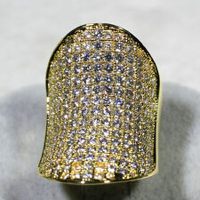 18K Yellow Gold Filled 8.2CT CZ Women Vintage Jewelry Cluster Ring R6588 SZ 5-10