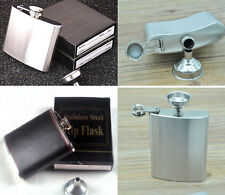 4 5 6 7 8 10 Oz Stainless Steel Hip Liquor Alcohol Flask Cap + Funnel Excellent