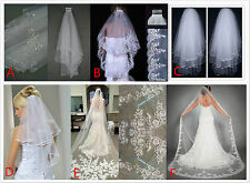 1or2 Layer Cathedral /chapel crystal sequins lace bridal bridal long veil+comb