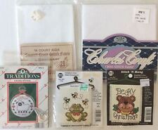 Cross Stitch LOT of 5 Items Includes 3 Kits + 2 Aida Fabric 11 & 14 Count