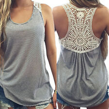 Fashion Women Ladies Lace Vest Top Sleeveless Casual Tank Blouse Tops T-Shirt
