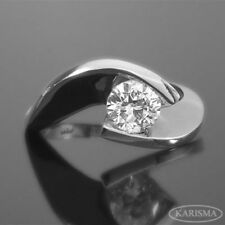 DIAMOND TWISTED RING SOLITAIRE VS1 ROUND CUT ESTATE 18K WHITE GOLD PROMISE
