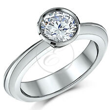 Titanium Solitaire CZ Stone 2ct Flush Set Engagement Ring