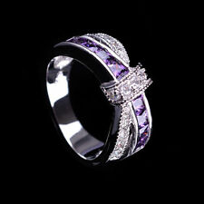 Size 6-10 Purple Amethyst Crystal Cross Ring 10KT White Gold Filled Band Rings
