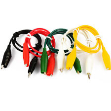 Crocodile Clip Test Leads, Black Red Yellow White Green 0.5m hook up croc set