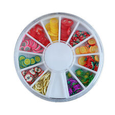 120pcs 3D Mix Fimo Nail Art Nail Tips Polymer Clay Slices Decor Wheel Colorful T