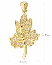 Sterling silver Pave Cubic Zirconia (CZ) Leaf Necklace Pendant