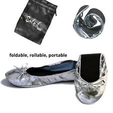 New Foldable / Rollable Silver Ballet flats with bag S,M,L,XL 5,6,7,8,9,10 US/AU