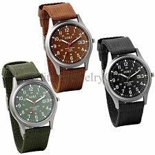 Mens Army Sport Quartz Analog Lumnious Date Wrist Watch Nylon Strap Outdoor