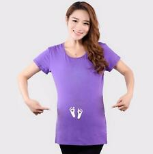 Funny maternity T shirts Baby little feet  short sleeve cute maternity tops