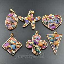 Freeform Multi Color Druzy Chips Quartz Gemstone Healing Pendant Ring Necklace