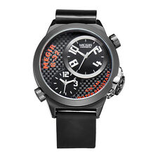 MEGIR Men Multiple Time Zone Military Watch Stainless Steel Case Black Silicone