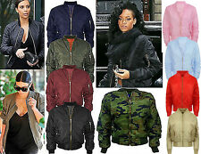 CLEARANCE Womens Ladies Classic Padded Bomber Jacket Vintage Zip Biker Coat LOT