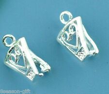 Gift Wholesale Silver Plated Heart Pinch Bail Findings 12x8mm