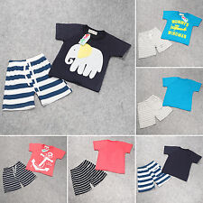 2Pcs Baby Toddler Boys Summer Tops T-shirt Striped Shorts Pants Outfits Clothes