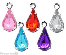 Gift Wholesale Mixed SP Rhinestone Teardrop Charms Pendants 13x6mm