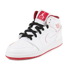 Nike Boys Air Jordan 1 Mid BG White/Gym Red-Black 554725-103