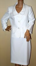 LE SUIT $200 NEW Boboli Gardens Vanilla Ice Ruffle Collar Skirt Suit skirt suit