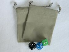 """Lot of 2 Small Gray RPG Dice Bags 3"""" x 4"""" Velveteen Cloth Bag New DnD Pouch"""