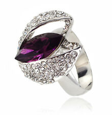 VF V475 Clear Crystal 18K WGP Alloy Purple Yellow CZ Ring Size 7,8