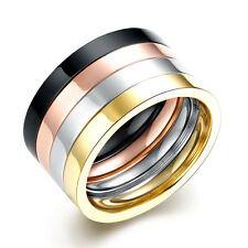 316L Stainless Steel Wide Multi-color Four-Layer Glossy Men Ring Size 7 8 9 10