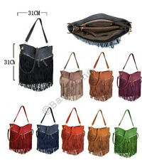 Womens Celebrity Hot Fringe Tassel Faux Suede Shoulder Cross Body Bag Handbag UK