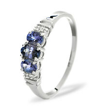 9K White Gold Diamond & 0.55ct Tanzanite Trilogy Ring  Sizes K-S Made in London