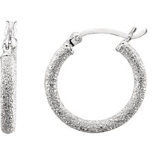 Hoop Earrings (Pair) - Stardust Finish - .925 Sterling Silver - 4 SIZES  [TH]