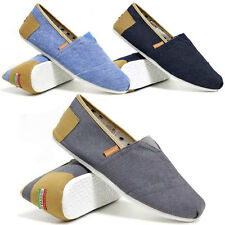 Mens Two Tone Slip On Casual Canvas Espadrilles Summer Trainers Pumps Shoe Size