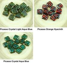 12pcs Picasso Window Table Cut Carved Flat Square Czech Glass Beads 10mm x 10mm