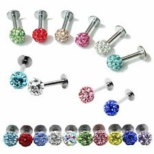 Surgical Steel CZ Crystal Ball Lip Monroe Labret Bar Rings Piercing Studs New