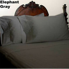 600 TC 100% Cotton 4-PCs Sheet Set Elephant Gray Stripe Choose Bedding Size Gift