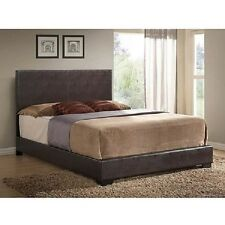 Brown Upholstered Platform Bed Frame w Headboard Leather Full Queen King Size