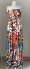 Mlle Gabrielle strapless maxi dress, cream,orange, blue paisley print Size M NWT