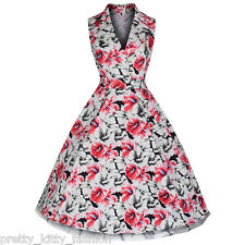 PRETTY KITTY WHITE RED FLORAL BLOOM PROM ROCKABILLY COCKTAIL SWING DRESS 8-18