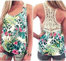 Women Bohemia Floral Lace Vest Halter Top Sleeveless Blouse Casual Tank T-Shirt